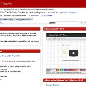 'Iolani School Libraries Fab Lab LibGuide