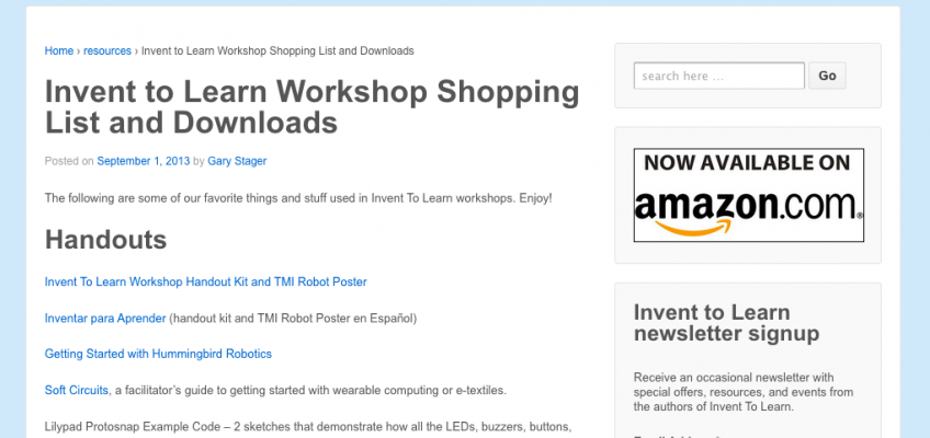 Invent to Learn Workshop Shopping List and Downloads