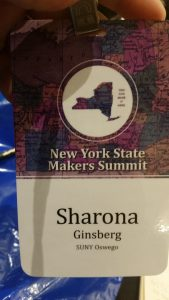 Nametag from the New York State Maker Summit reading Sharona Ginsberg, SUNY Oswego.