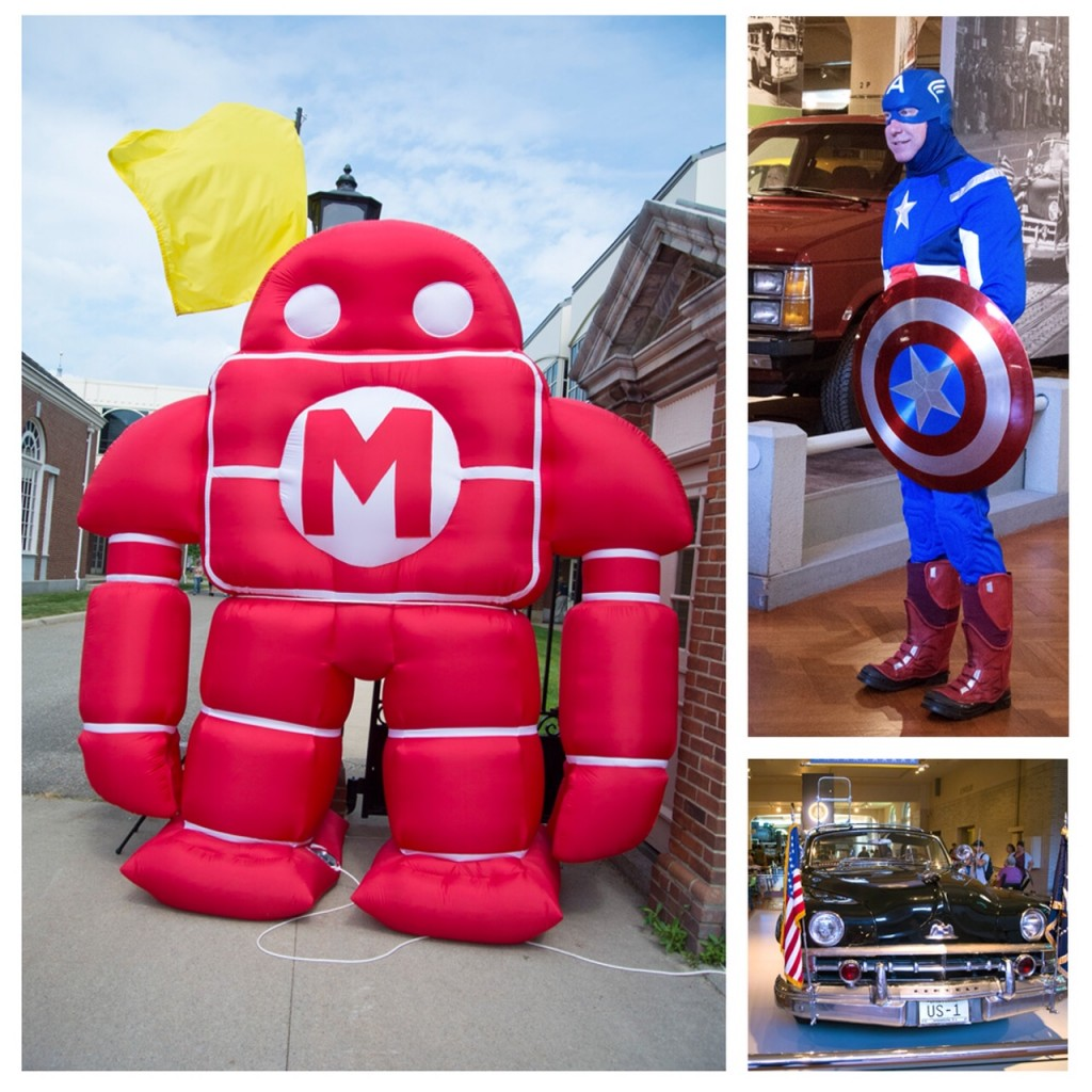 Left – Maker Faire robot; Top Right – Captain America cosplayer; Bottom Right – President Kennedy's car