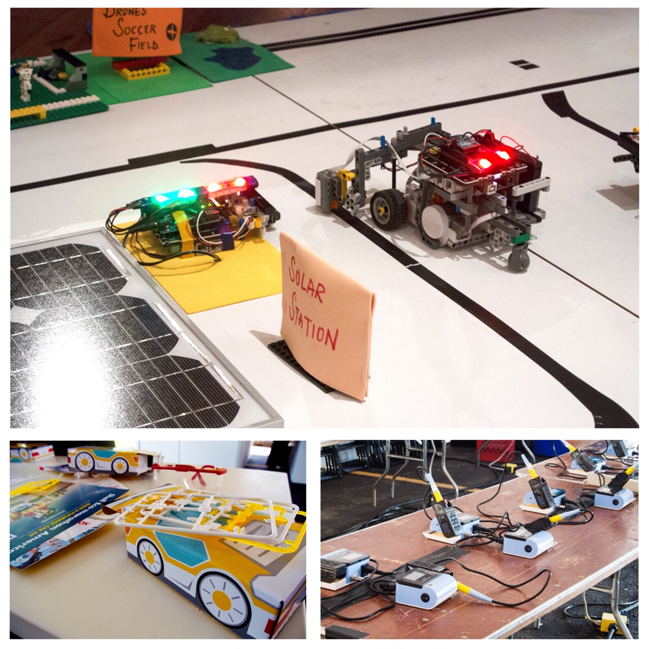 Top – LEGO car that was built and programmed by youth; Bottom Left – Saltwater powered car building kits; Bottom Right – Soldering irons setup to make LED buttons