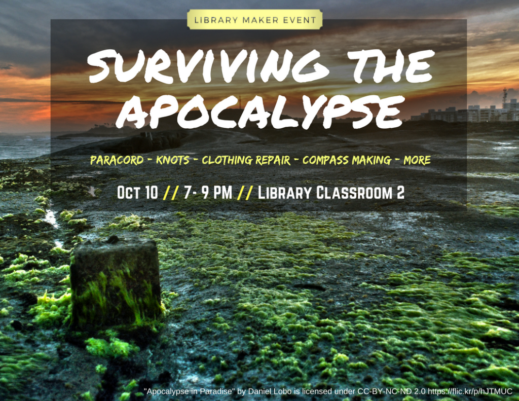 flyer for Surviving the Apocalypse event that lists the name, date, and location, as well as activities