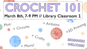 flyer for Crochet 101 event