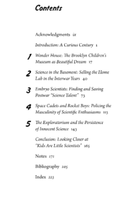 Screenshot of Table of Contents of Innocent Experiments