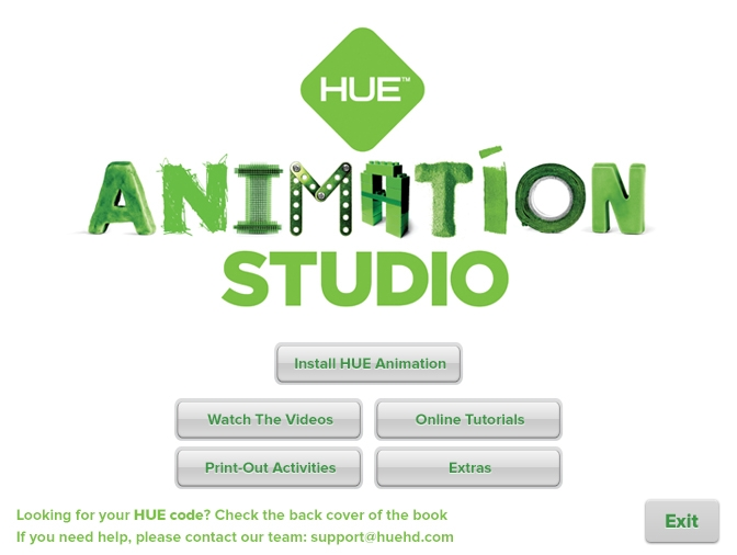 menu screen with buttons listing the following options: install HUE Animation, Watch the Videos, Online Tutorials, Print-Out Activities, Extras, Exit