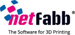 "Netfabb logo and text reading, ""The Software for 3D Printing"""
