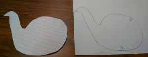 tracing my notebook-paper original design onto plain paper